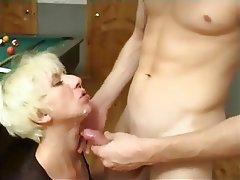 Blonde Cumshot Facial Group Sex MILF
